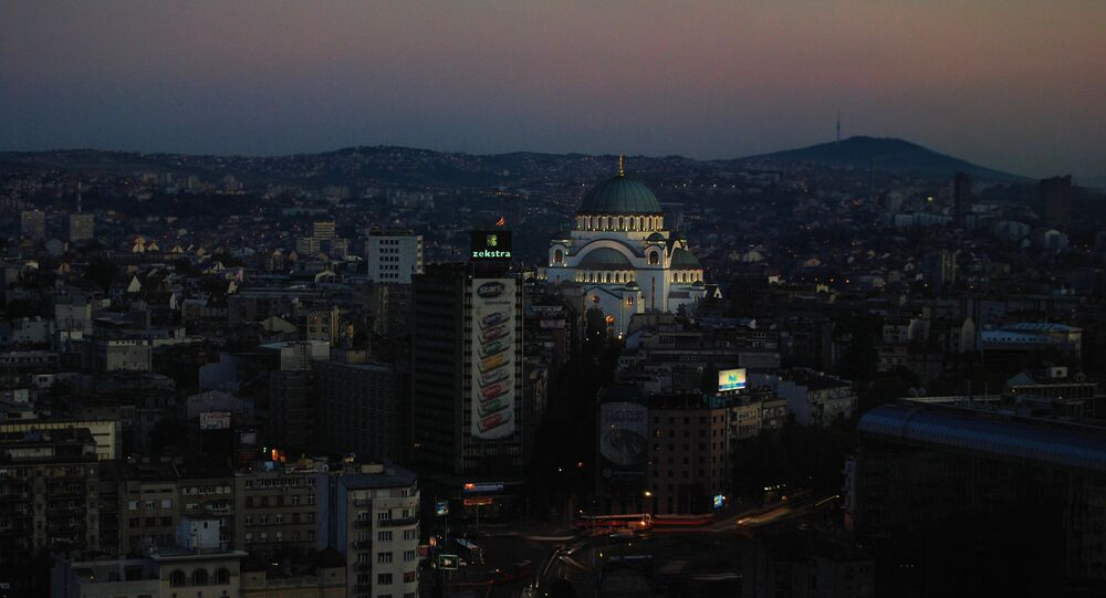 Belgrade panorama with one of the main feature this capital city, Catedral of Saint Sava. It represents an Orthodox church, the largest in the Balkans.