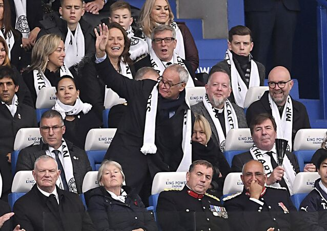Claudio Ranieri stands and waves at the crowd at Leicester on Saturday, November 10, 2018. He attended to pay his respects to the club's owner, who was killed in a helicopter crash