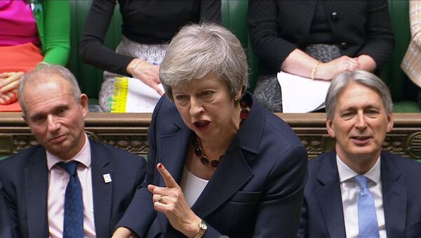 A still image from a video footage shows Britain's Prime Minister Theresa May speaking during Prime Minister's Questions in the House of Commons, in central London, Britain November 14, 2018 - Sputnik International