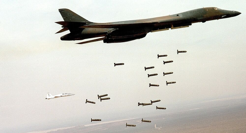 US B1 bomber dropping cluster bombs.