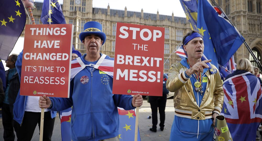 Anti-Brexit demonstrators protest outside Parliament. File photo