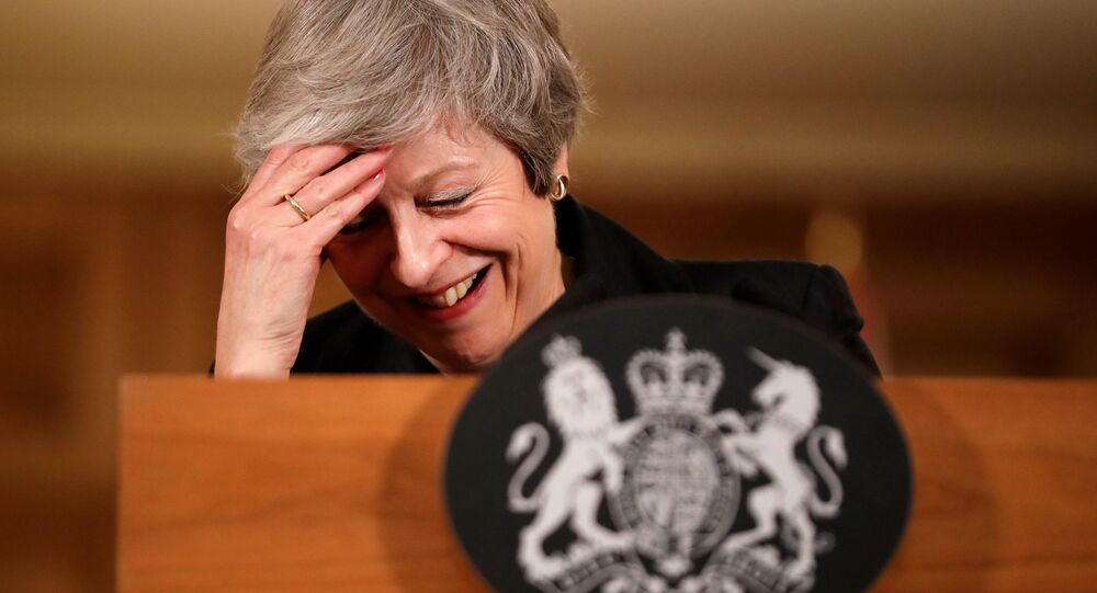 Britain's Prime Minister Theresa May reacts during a news conference at Downing Street in London, Britain November 15, 2018