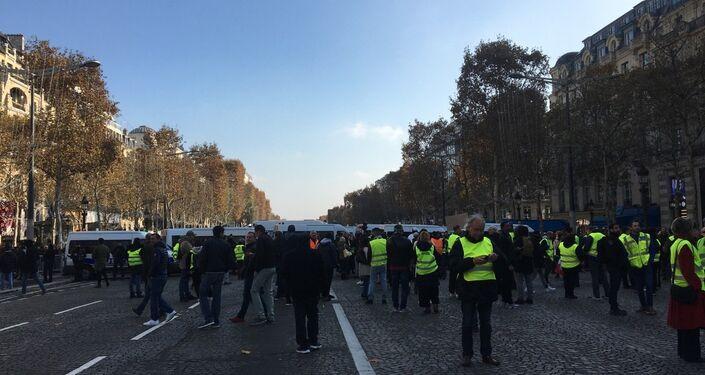 'Yellow vest' proteststers blocked Champs-Élysées avenue in Paris