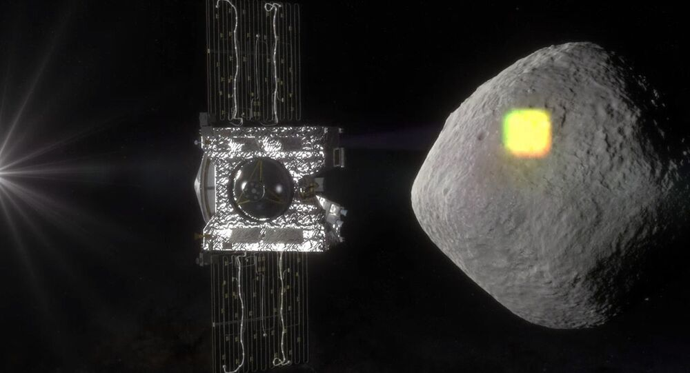 NASA artist rendering shows the mapping of the near-Earth asteroid Bennu by the OSIRIS-REx spacecraft