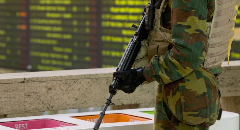 A Belgian Army soldier patrols the central train station in Brussels on Monday, 23 November 2015.