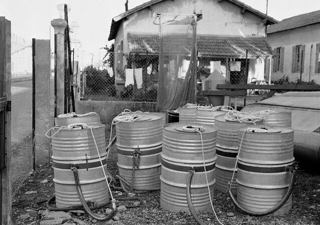 Ten tightly sealed drums filled with radioactive waste