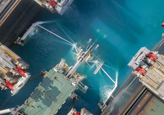 Drone footage of the backside of the Pioneering Spirit vessel