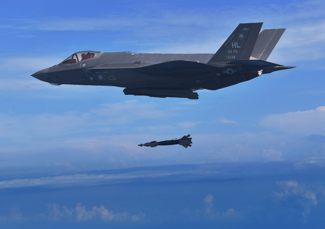 A pilot assigned to the 388th Fighter Wing's 34th Fighter Squadron drops a GBU-49 bomb from an F-35A Lightning II Nov. 7. 2018. The 34th FS is the first unit to employ the GBU-49 in combat training. The squadron recently completed a Combat Hammer weapons evaluation exercise at Eglin Air Force Base, Florida. Pilots say the GBU-49 is effective and accurate and will make the F-35A even more lethal.