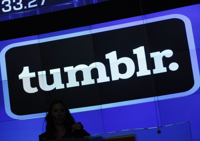 In this Thursday, July 11, 2013 photo, the Tumblr logo is displayed at Nasdaq, in New York. Yahoo has paid $1.1 billion to buy the blogging site Tumblr in one of this year's most buzzed-about deals. Now, Tumblr is flaunting its hipster credentials with a first-ever breakdown of the year's hottest trends, topics and celebrities. The retrospective starts Tuesday, Dec. 3, 2013, with an exploration of 20 categories ranging from the most popular musical groups to the most interesting architecture of 2013.