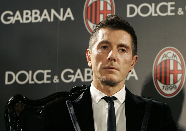 Fashion designer Stefano Gabbana during the presentation of their Gold Sponsor Partnership, in Milan, Italy, Friday, Feb. 8, 2008.