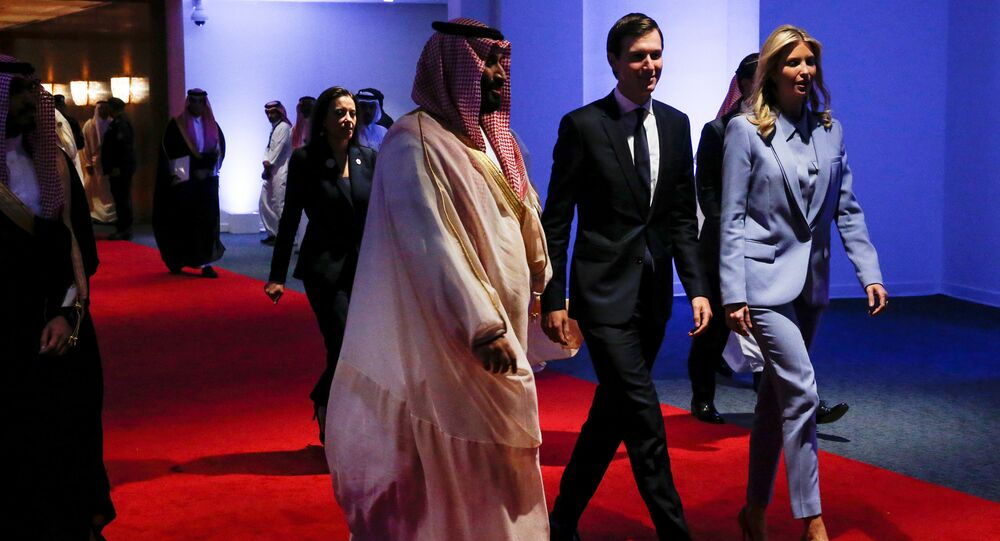 Saudi Arabia's Deputy Crown Prince Mohammed bin Salman escorts White House senior advisor Jared Kushner and his wife White House senior advisor Ivanka Trump at the Global Center for Combatting Extremist Ideology in Riyadh, Saudi Arabia May 21, 2017