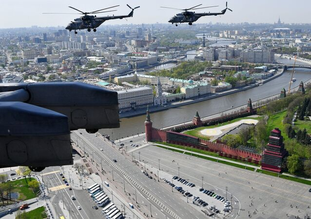 Mi-8 multipurpose helicopters during the rehearsal of the Victory Parade flyovers in Moscow