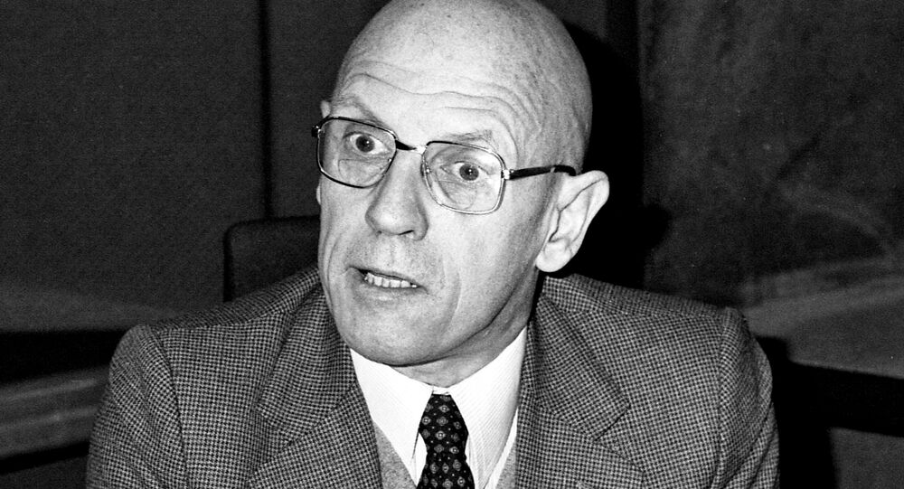 Portrait of French philosopher Michel Foucault taken on December 16, 1981 at the radio broadcast studio Europe 1 in Paris, France.