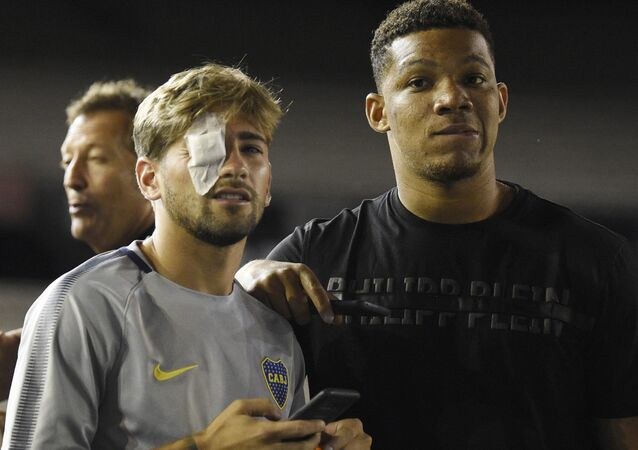 Gonzalo Lamardo was one of two Boca Juniors players who had glass shards embedded in their eye after the incident