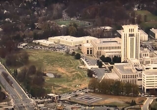 Walter Reed Military Medical Center seen from a helicopter November 27, 2018.