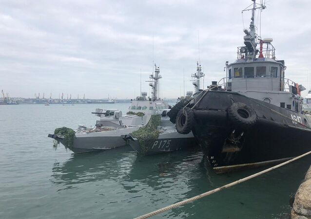 Ukraine's Berdyansk and Nikopol (left) gunboats and the Yany Kapu tugboat detained for crossing the Russian maritime border. File photo
