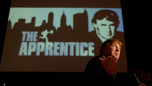 Donald Trump, seeking contestants for The Apprentice television show, is interviewed at Universal Studios Hollywood Friday, July 9, 2004, in the Universal City section of Los Angeles. - Sputnik International