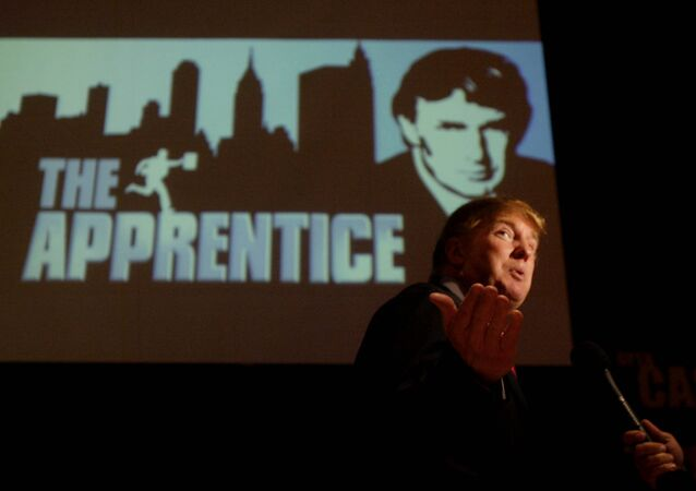 Donald Trump, seeking contestants for The Apprentice television show, is interviewed at Universal Studios Hollywood on 9 July 2004, in Los Angeles.