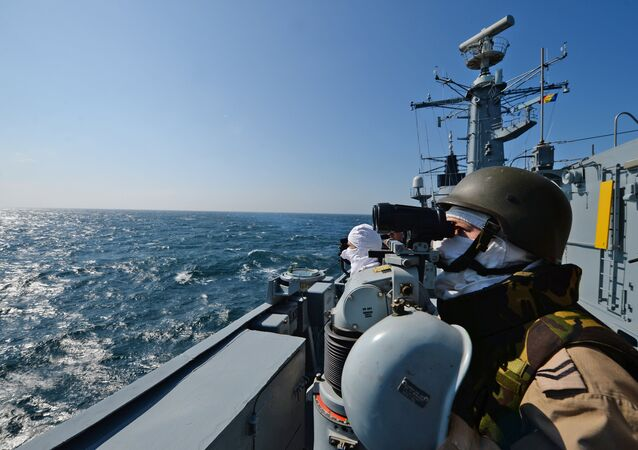 Romanian frigate Regina Maria personnel with the NATO Standing Maritime Group-2 keep watch during a military drill on the Black Sea, 60km from Constanta city March 16, 2015Romanian frigate Regina Maria personnel with the NATO Standing Maritime Group-2 keep watch during a military drill on the Black Sea, 60km from Constanta city March 16, 2015