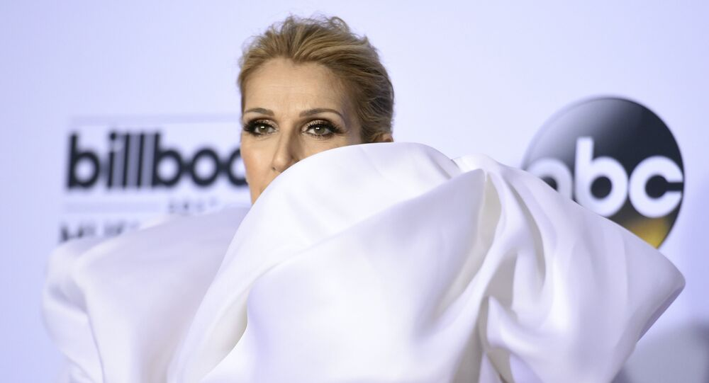 Celine Dion poses in the press room at the Billboard Music Awards at the T-Mobile Arena on Sunday, 21 May 2017, in Las Vegas.