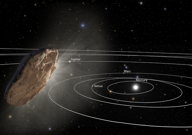 This illustration shows 'Oumuamua racing toward the outskirts of our solar system. As the complex rotation of the object makes it difficult to determine the exact shape, there are many models of what it could look like.