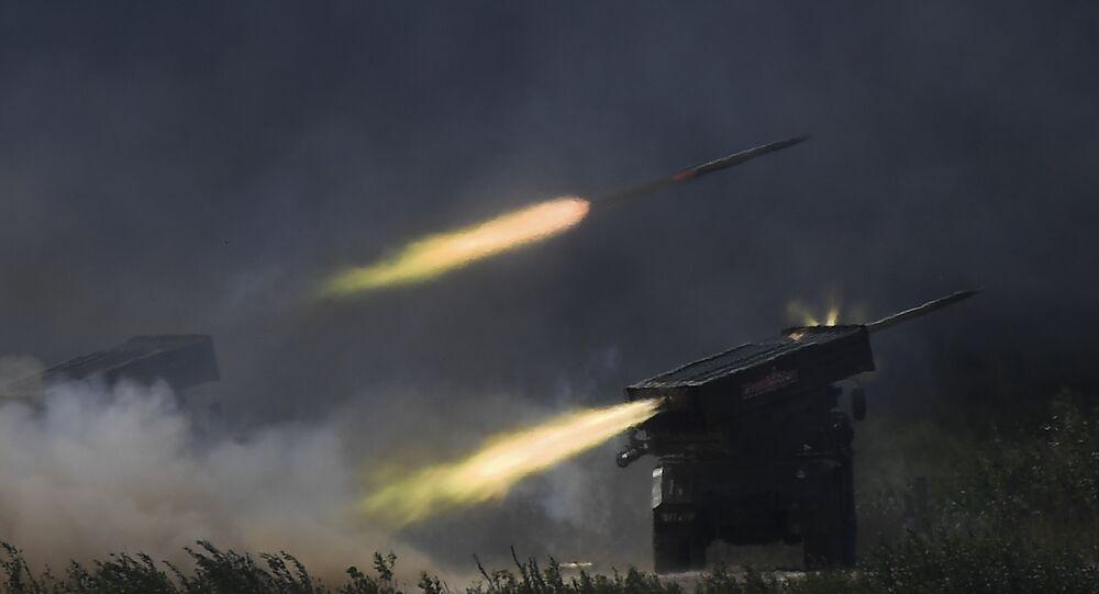 Tornado-Gs firing at Army-2018 military forum.