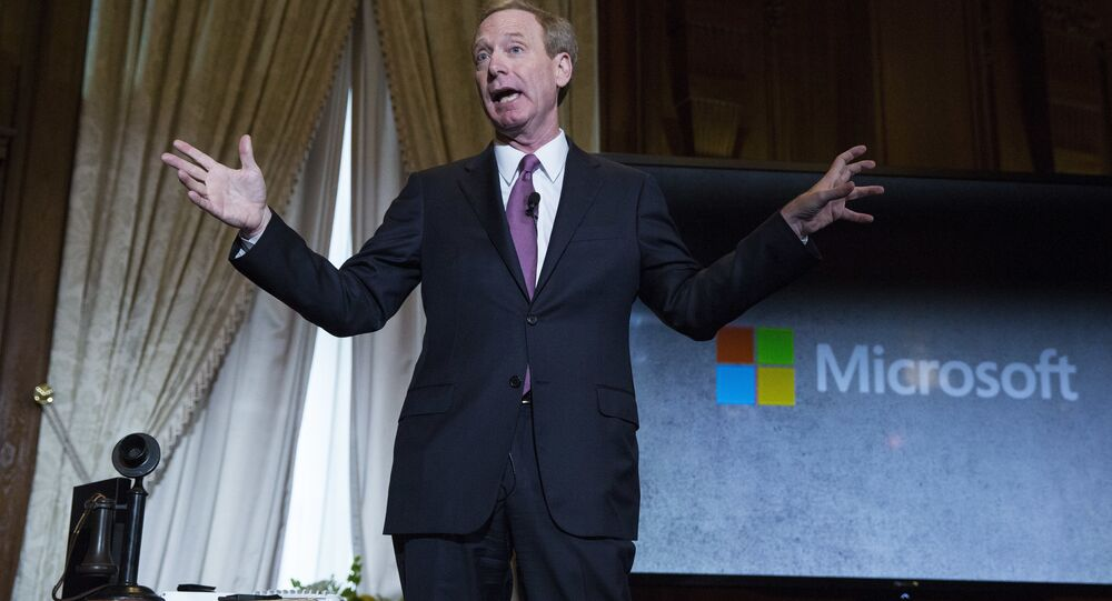 Brad Smith, President and Chief Legal Officer of Microsoft, speaks at the Willard Hotel in Washington, DC.