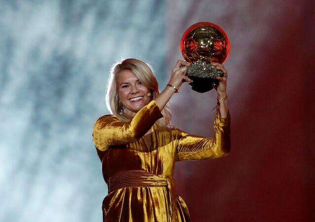 Soccer Football - 63rd Ballon d'Or - The Grand Palais, Paris, France - December 3, 2018 Olympique Lyonnais' Ada Hegerberg with the Women's Ballon d'Or award