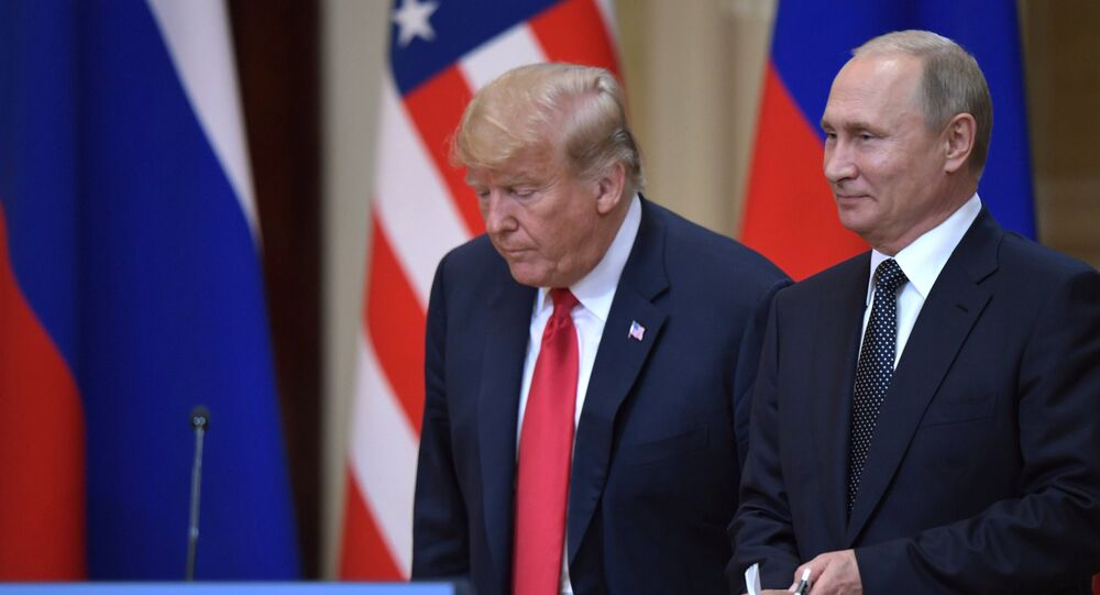 Vladimir Putin and Donald Trump in Helsinki. File photo
