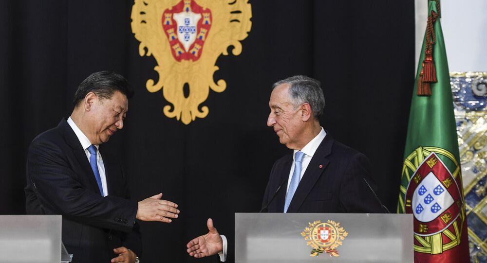 China's President Xi Jinping and Portugal's President Marcelo Rebelo de Sousa