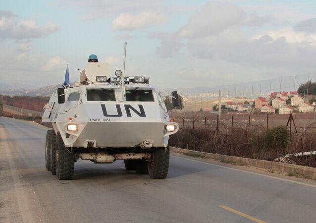 U.N. peacekeepers of the United Nations Interim Force in Lebanon (UNIFIL) patrol in Kfar Kila village in south Lebanon, near the border with Israel