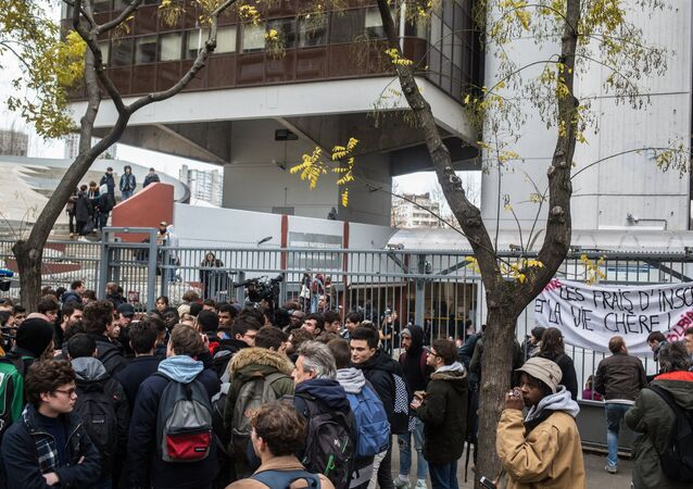 Protest action of students in Paris