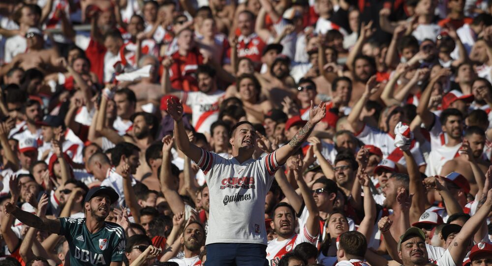 River Plate fans ahead of the second leg of the Copa Libertadores final, which is being played in Madrid on December 9