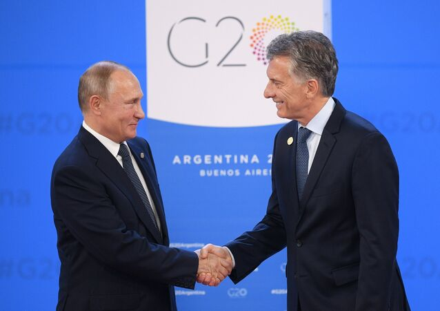 Russian Vladimir Putin and Argentina's President Mauricio Macri