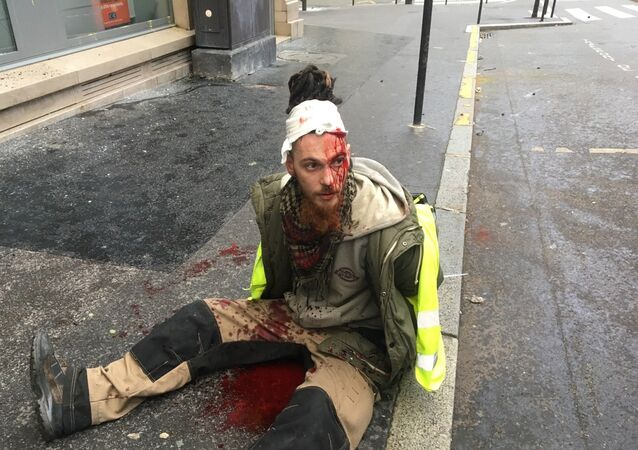 A protester wounded during Yellow Vests protest in Paris on December 8, 2018.