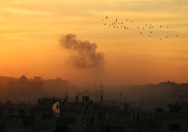 Smoke billows from a rebel-held area of Daraa