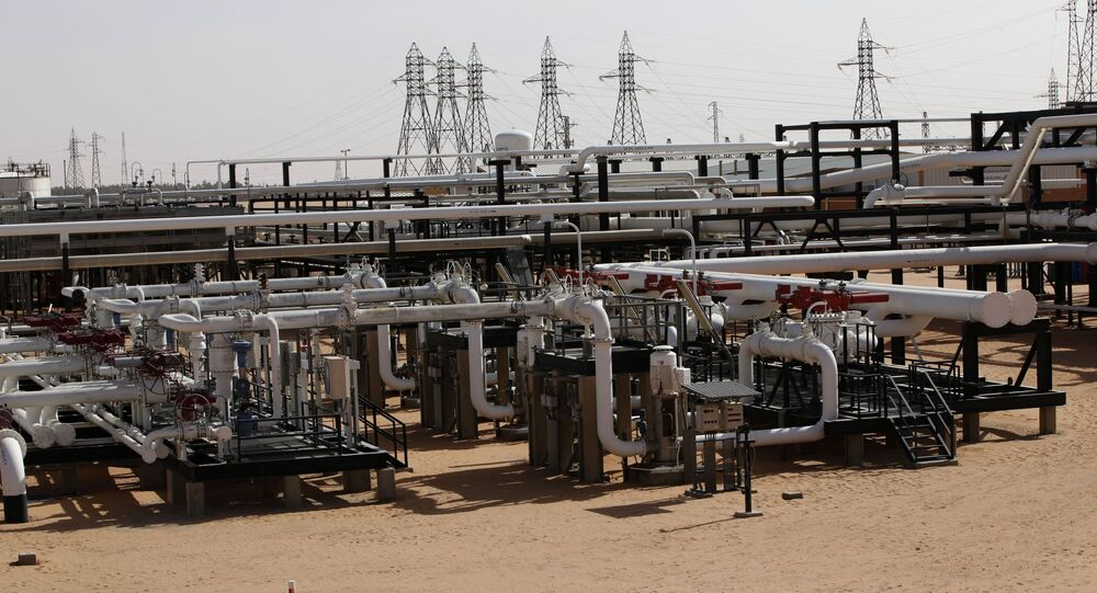 Pipes are pictured at the El Sharara oilfield (File)
