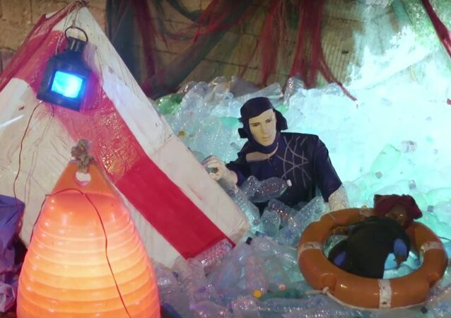 Nativity scene with migrants trapped in plastic sea sparks controversy