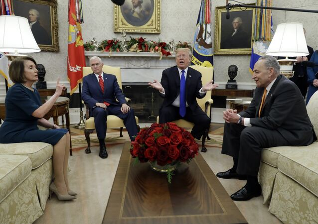 President Donald Trump and Vice President Mike Pence meet with Senate Minority Leader Chuck Schumer, D-N.Y., and House Minority Leader Nancy Pelosi, D-Calif., in the Oval Office of the White House, Tuesday, Dec. 11, 2018, in Washington.