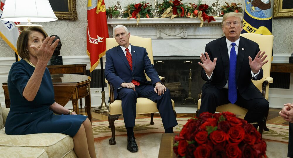 Vice President Mike Pence, center, listens as President Donald Trump argues with House Minority Leader Rep. Nancy Pelosi, D-Calif., during a meeting in the Oval Office of the White House, Tuesday, Dec. 11, 2018, in Washington.