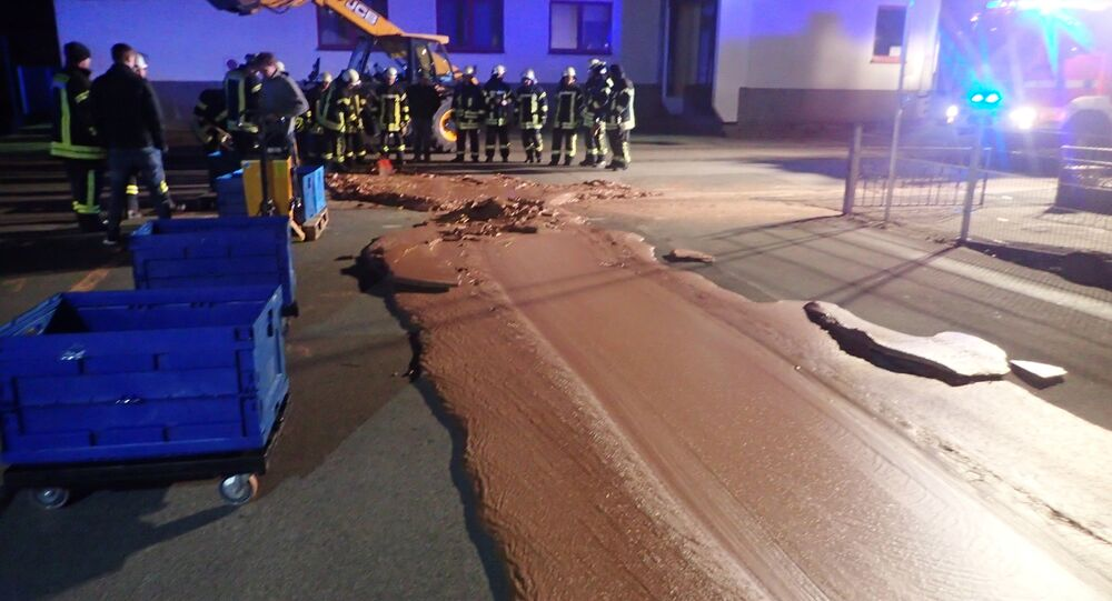 Spilt chocolate is seen on a road in Werl, Germany December 10, 2018 in this picture obtained from social media