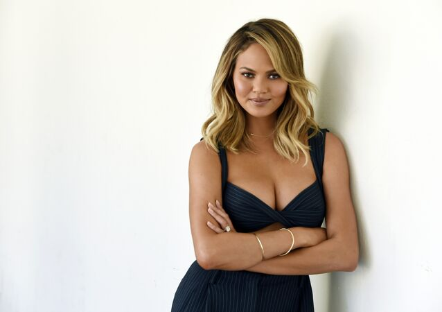 Chrissy Teigen, one of the hosts of the lifestyle talk show FABLife, poses for a portrait during the 2015 Television Critics Association Summer Press Tour at the Beverly Hilton on Tuesday, Aug. 4, 2015, in Beverly Hills, Calif.