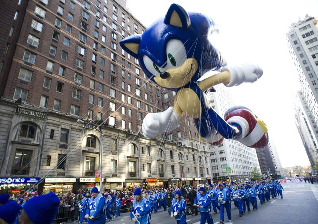 FILE - In this Nov. 22, 2012 file photo, the Sonic the Hedgehog balloon floats in the Macy's Thanksgiving Day Parade in New York