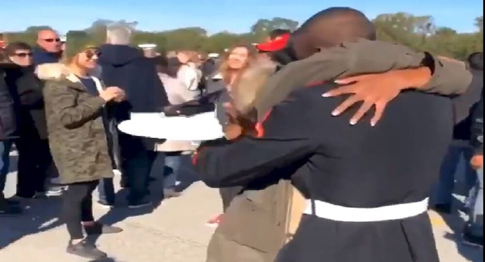 Jevonna Williams and Jamil Brown at graduation from marine boot camp