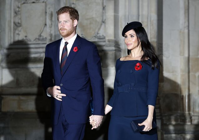 Prince Harry and Meghan, Duchess of Sussex leave Westminster Abbey after attending the Remembrance Sunday ceremony at Westminster Abbey in London, Sunday, Nov. 11, 2018.