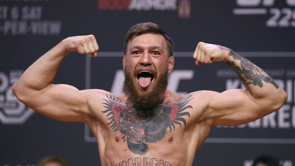 Conor McGregor poses during a ceremonial weigh-in for the UFC 229 mixed martial arts fight Friday, Oct. 5, 2018, in Las Vegas. - Sputnik International