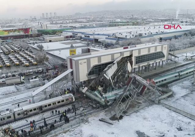 This image made from video shows aftermath of a high-speed train crash at a station in Ankara, Turkey, Thursday, Dec. 13, 2018