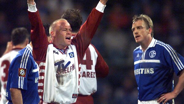 Danish Stig Toefting from Hamburg, center, celebrating Hamburg's 1-0 victory in the German first division soccer match - Sputnik International