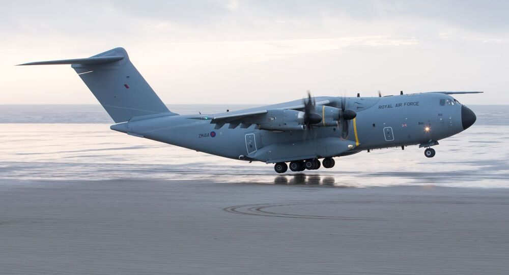 RAF A400M lands on Pembrey Beach, Wales