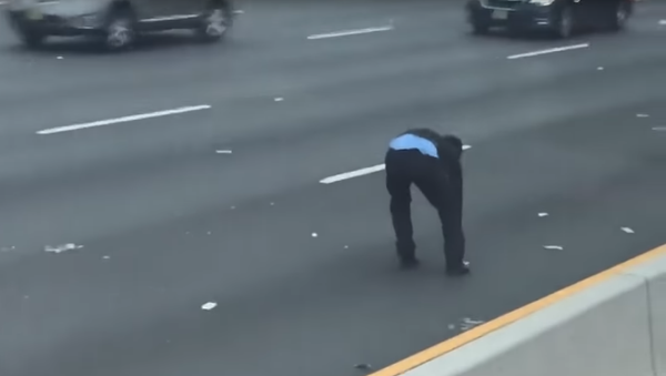 A Brinks Security Guard Chases Loose Money from Armored Car on New Jersey Highway - Sputnik International